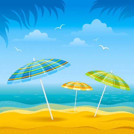 Beach background with blue sea and stripped beach beach umbrellas. Illustration