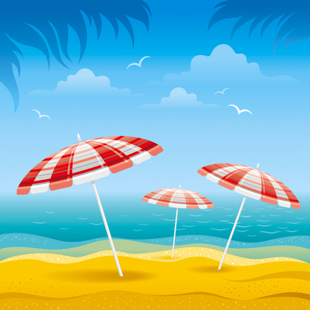 horizon over water: Beach background with blue sea and stripped beach beach umbrellas. Illustration