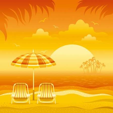 beach sunset: Sunset beach background with sea, chairs and stripped beach umbrellas.