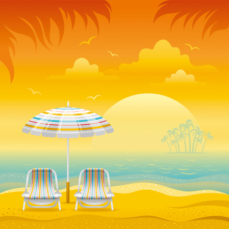 sunset beach: Sunset beach background with sea, chairs and stripped beach umbrellas.