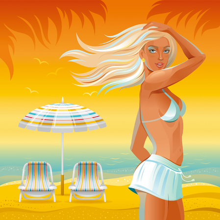 bodycare: Evening beach background with beautiful tan girl standing near the umbrella