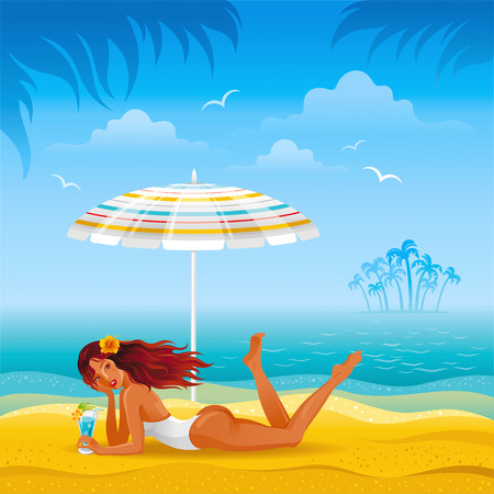 tan: Beach background with beautiful tan girl lazing under the umbrella