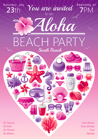 luau party: Beach party invitation in red and pink colors