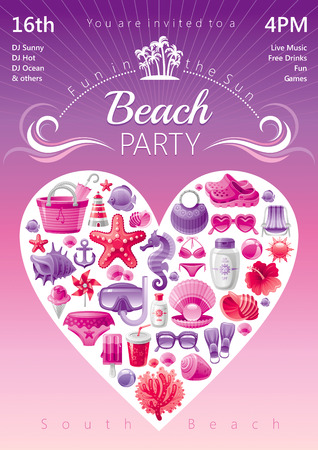 outdoor chair: Beach party invitation in red and pink colors