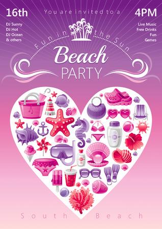 caballo bebe: Invitaci�n de la fiesta de playa en colores rojo y rosa