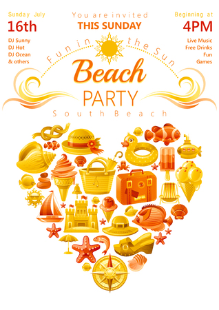 luau party: Beach party invitation in yellow and orange color