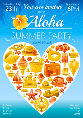 hawaiian culture: Beach party invitation in yellow and orange color