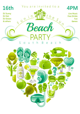 suntan lotion: Beach party invitation in green, lima and mint colors