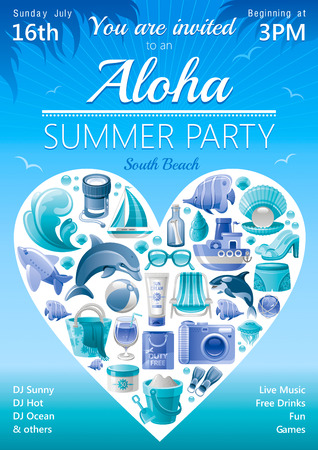 clogs: Beach party invitation in blue color with icons in heart
