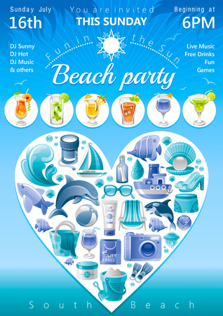 killer waves: Beach party invitation in blue color with icons in heart