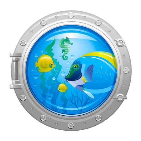sea life centre: Blue porthole with colorful underwater life, fishes Illustration