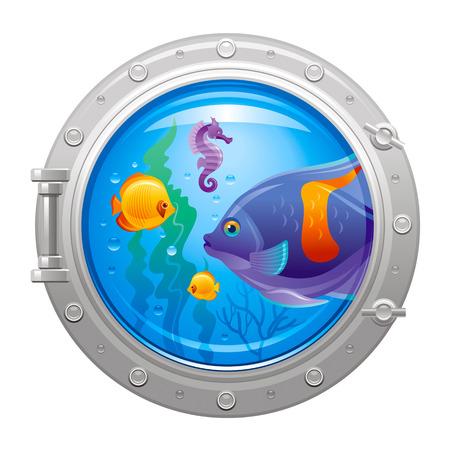 Blue porthole with colorful underwater life, fishes Illustration