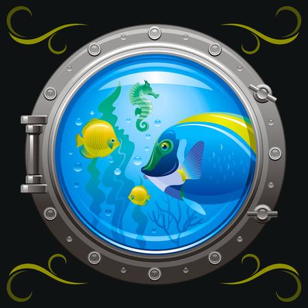 Blue porthole with colorful underwater life, fishes on black background