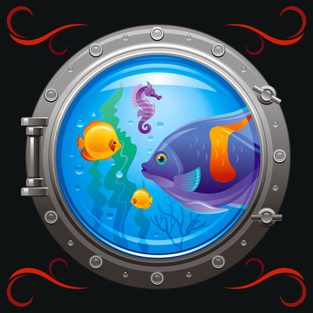 sea life centre: Blue porthole with colorful underwater life, fishes on black background