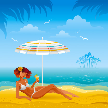 Colorful beach background with beautiful tan girl and umbrella