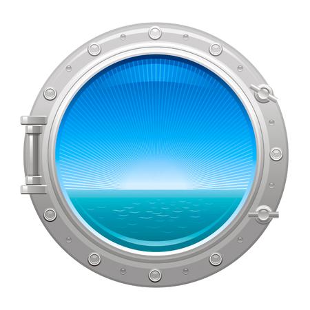 Porthole icon with sea and sky summer landscape Vektorové ilustrace