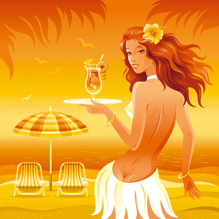 hawaiian culture: Evening beach background with beautiful hula girl and tropical cocktail Illustration
