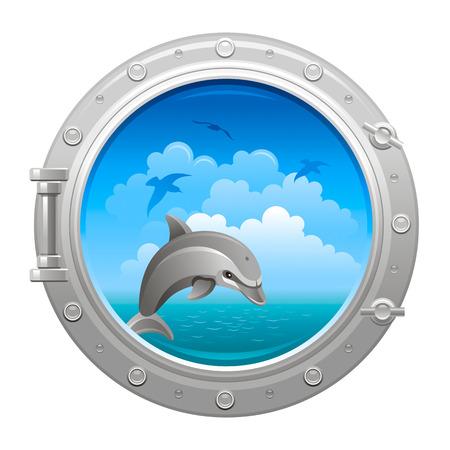 porthole: Porthole icon with seaand sky summer landscape