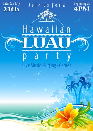 hawaiana: cartel de la playa Día de fiesta hawaiano con flor de hibisco