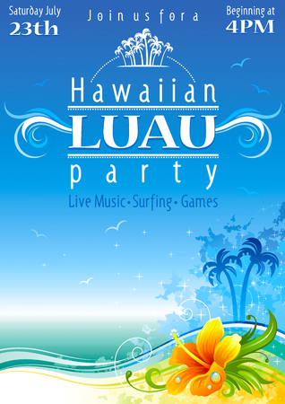 Day strand poster voor Hawaiiaanse feest met hibiscus bloem