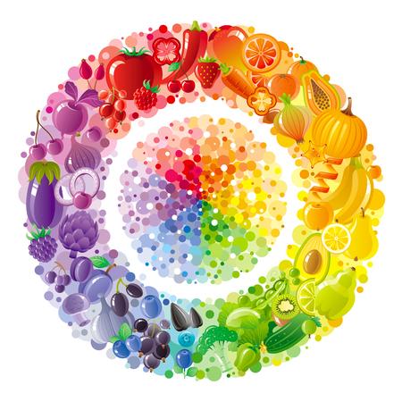 calabaza caricatura: placa de arco iris vegetariana withe frutas, verduras, nueces, bayas