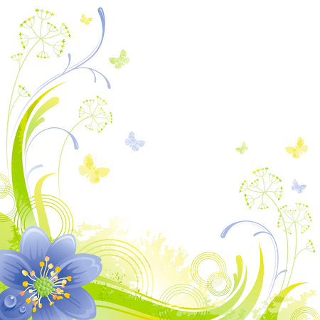 green butterfly: Floral summer background with blue snow drop flower, leafs, grass and grunge elements, copy space for your text Illustration