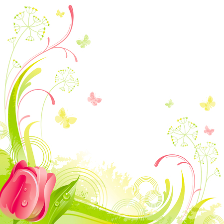 red tulip: Floral summer background with red tulip flower, leafs, grass and grunge elements, copy space for your text