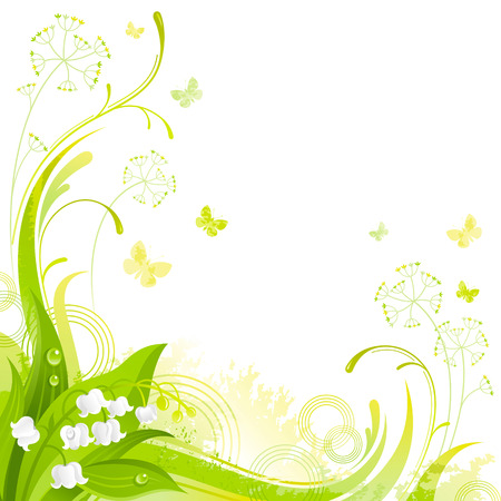 Floral summer background with white lily of the valley flower, leafs, grass and grunge elements, copy space for your text Stock Illustratie