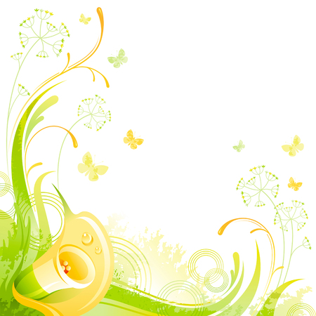grass close up: Floral summer background with yellow calla flower, leafs, grass and grunge elements, copy space for your text Illustration