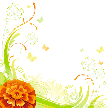 grass close up: Floral summer background with orange marigold flower, leafs, grass and grunge elements, copy space for your text Illustration