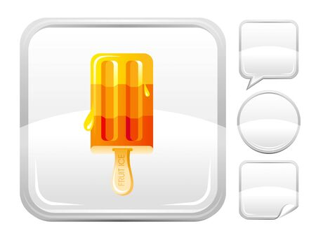 blank button: Dessert food icon with fruit ice cream and other blank button forms