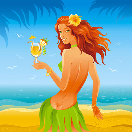 luau party: Day beach background with beautiful hula girl and tropical cocktail