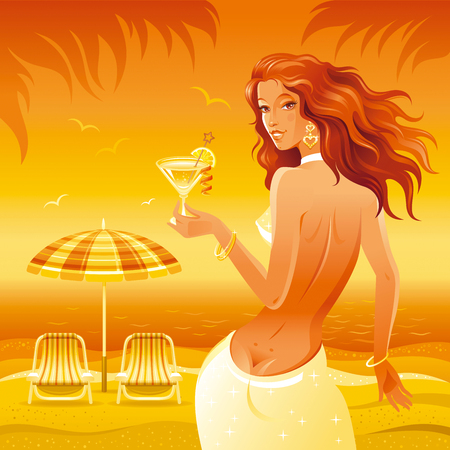 outdoor chair: Evening beach background with beautiful girl and tropical cocktail