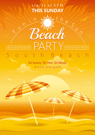 night party: Beach party sunset background with stripped umbrellas