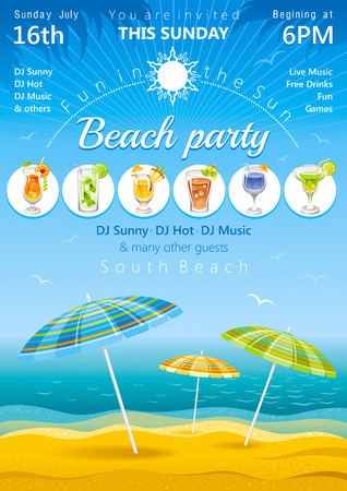 luau party: Day beach poster with umbrellas and cocktail icons Illustration