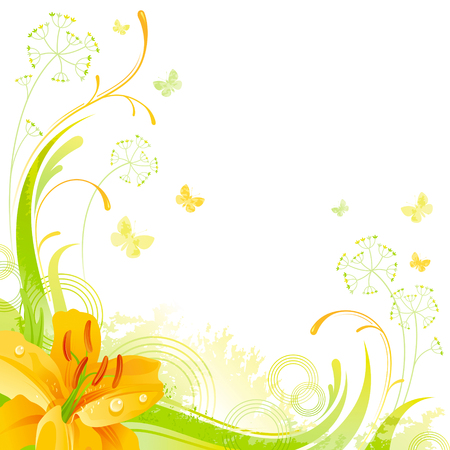 grass close up: Floral summer background with yellow lily flower, leafs, grass and grunge elements, copy space for your text Illustration