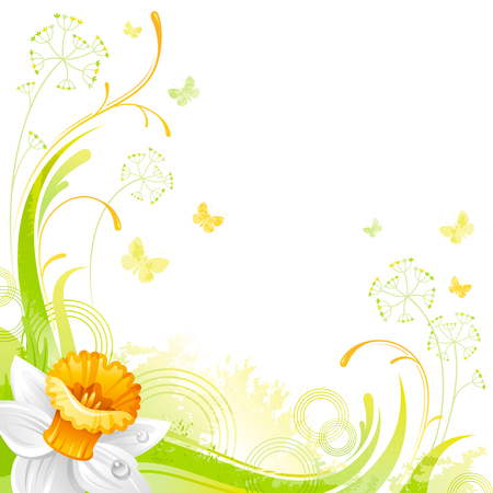 flower banner: Floral summer background with daffodil flower, leafs, grass and grunge elements, copy space for your text Illustration