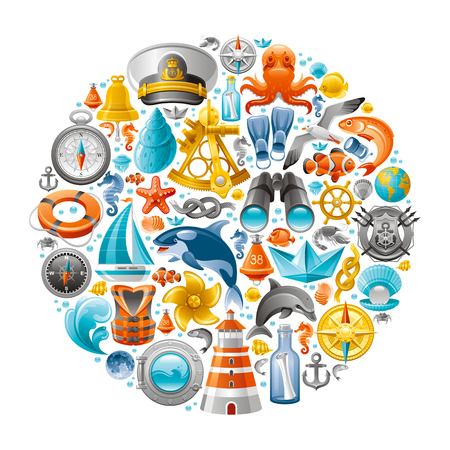 computer icons: Ship travel icon set contains lighthouse, killer whale, starfish, yacht, octopus, life jacket, porthole, anchor, binoculars, yachting emblem, sextant, compass rose, wheel and other sailing symbols