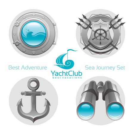 yachting: Sea travel icon set with sailing icons porthole, anchor, binoculars, yachting emblem