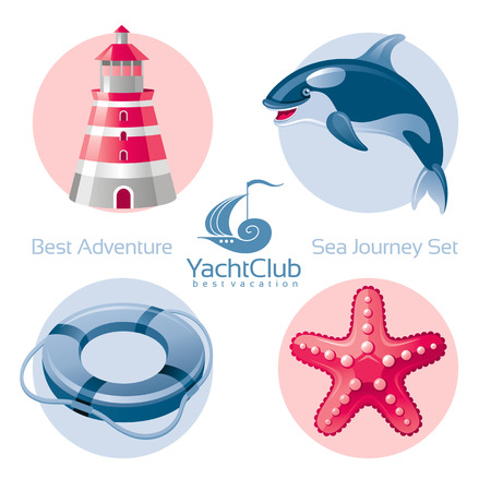 seafaring: Sea travel icon set with seafaring icons lighthouse, killer whale, lifebuoy, starfish Illustration