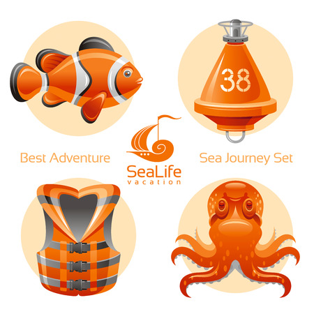 clown fish: Sea travel icon set with sailing icons clown fish, octopus, buoy, life jacket