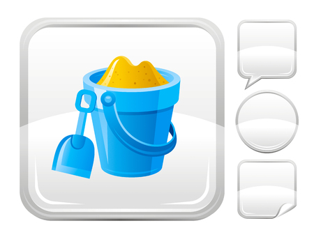 blank button: Sea beach and travel icon with kids bucket and shovel and other blank button forms
