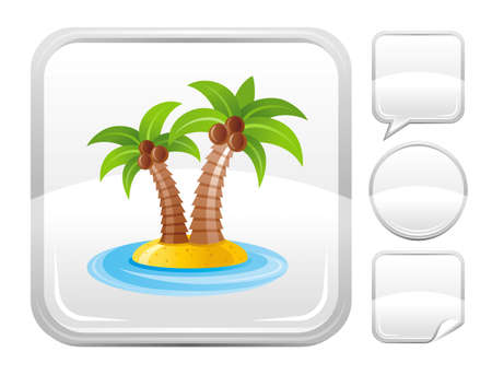 blank button: Sea beach and travel icon with tropical island with palm trees and other blank button forms speaking bubble, circle, sticker Illustration