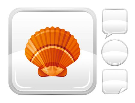 scallop: Sea beach and travel icon with scallop shell on square background and other blank button forms