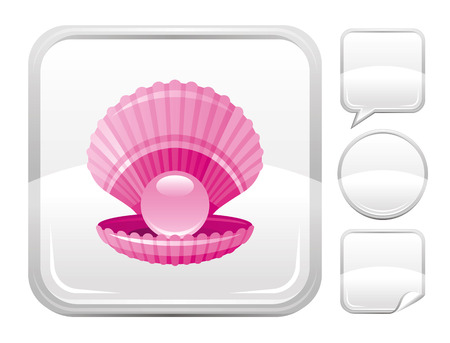 pearl shell: Sea beach and travel icon with scallop shell with pearl on square background and other blank button forms Illustration