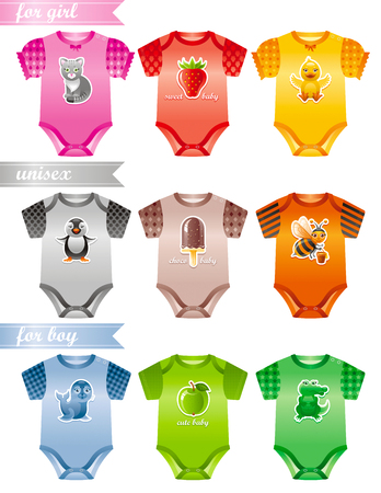 cat suit: Baby clothes icon set with fashion girl, boy and unisex body suits. Colorful decors with cute cat, strawberry, duckling, pinguin, ice cream, bee, seal, apple, crocodile