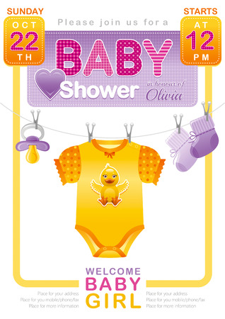 bimbo: Baby shower girl invitation design with body suit, socks, soother in yellow, pink and purple color on white background. Cute duckling icon