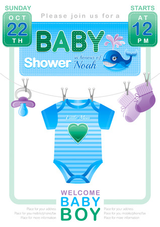 bimbo: Baby shower boy invitation design with body suit, socks, soother in blue and green color on white background. Cute whale icon with water fountain Illustration
