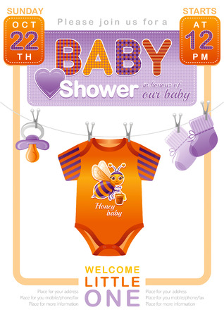 bimbo: Unisex baby shower invitation design with body suit, socks, soother in orange and violet color. Cute bee icon.