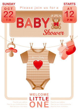 Baby shower unisex invitation design for boy or girl with body suit, socks, soother in beige and red color on white background. Cute teddy bear toy icon Illustration